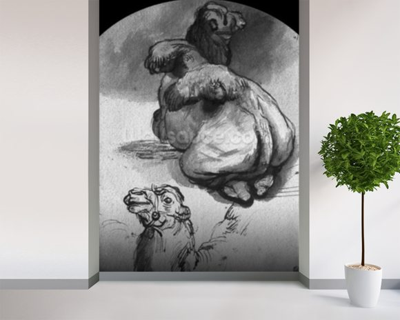 Camels (pen & ink & wash on paper) (b/w photo) wallpaper mural room setting