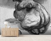 Camels (pen & ink & wash on paper) (b/w photo) wallpaper mural living room preview