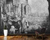 St. Peter and St. John at the Entrance to the Temple, 1649 (etching) (b/w photo) mural wallpaper kitchen preview
