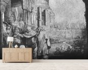 St. Peter and St. John at the Entrance to the Temple, 1649 (etching) (b/w photo) mural wallpaper living room preview