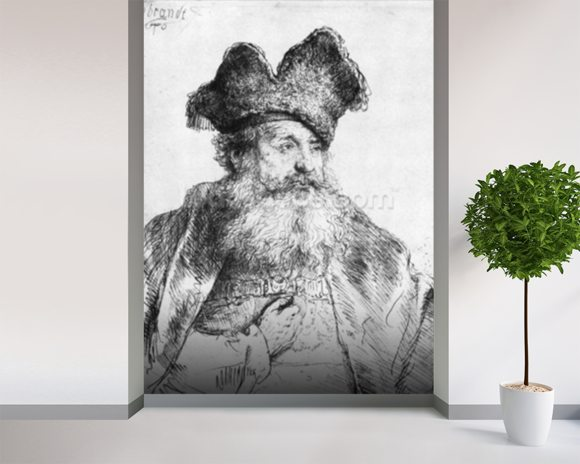 Portrait of an old man (etching) (b/w photo) wallpaper mural room setting