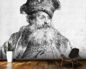 Portrait of an old man (etching) (b/w photo) wallpaper mural kitchen preview