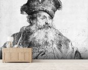 Portrait of an old man (etching) (b/w photo) wallpaper mural living room preview