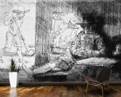 Kolf game, 1654 (etching) (b/w photo) wall mural kitchen preview