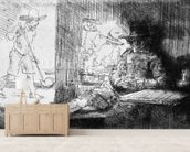 Kolf game, 1654 (etching) (b/w photo) wall mural living room preview