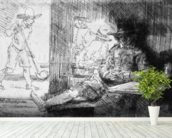 Kolf game, 1654 (etching) (b/w photo) wall mural in-room view