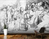Jesus Christ among the Doctors (etching) (b/w photo) wallpaper mural kitchen preview