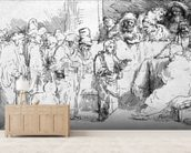 Jesus Christ among the Doctors (etching) (b/w photo) wallpaper mural living room preview