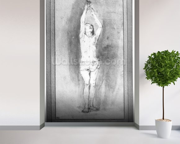 Young boy with a loincloth, both hands hanged on a small bar (pen, brown ink & wash on paper) (b/w photo) mural wallpaper room setting