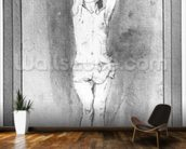 Young boy with a loincloth, both hands hanged on a small bar (pen, brown ink & wash on paper) (b/w photo) mural wallpaper kitchen preview