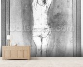 Young boy with a loincloth, both hands hanged on a small bar (pen, brown ink & wash on paper) (b/w photo) mural wallpaper living room preview