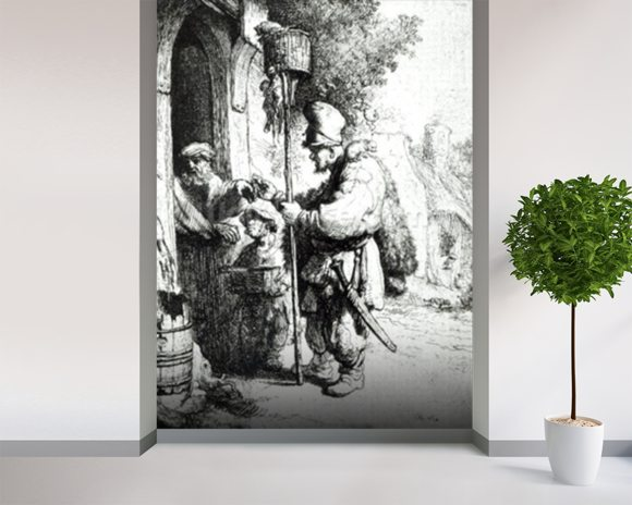 The Ratcatcher, 1632 (etching) (b/w photo) wallpaper mural room setting