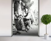The Ratcatcher, 1632 (etching) (b/w photo) wallpaper mural in-room view