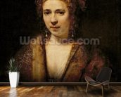 Portrait of Hendrikje Stoffels (1625-63) (oil on canvas) mural wallpaper kitchen preview