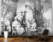 Interior of a studio with a painter painting the portrait of a couple (pen, ink, bistre & wash on paper) (b/w photo) mural wallpaper kitchen preview
