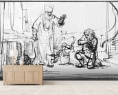 Parable of the ruthless creditor (pen & bistre on paper) (b/w photo) wall mural living room preview