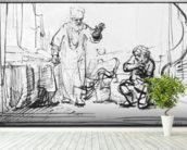 Parable of the ruthless creditor (pen & bistre on paper) (b/w photo) wall mural in-room view