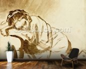 A Young Woman Sleeping (Hendrijke Stoffels) c.1654 (brush & brown wash on paper) wallpaper mural kitchen preview