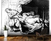 Joseph and Potiphars wife, 1634 (etching) wall mural kitchen preview