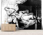 Joseph and Potiphars wife, 1634 (etching) wall mural living room preview