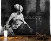 Woman sitting half-dressed beside a stove, 1658 (etching) mural wallpaper kitchen preview
