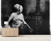 Woman sitting half-dressed beside a stove, 1658 (etching) mural wallpaper living room preview