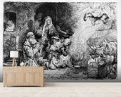The Angel departing the family of Tobias, 1641 (etching) wall mural living room preview