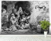 The Angel departing the family of Tobias, 1641 (etching) wall mural in-room view