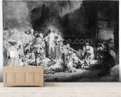 Christ preaching in a rocky landscape, c.1645 (etching) wallpaper mural living room preview