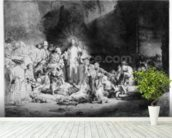 Christ preaching in a rocky landscape, c.1645 (etching) wallpaper mural in-room view