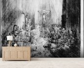 The Three Crosses, 1653 (etching) mural wallpaper living room preview