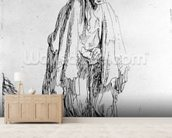 Beggar in a high cap, c.1630 (etching) wallpaper mural living room preview
