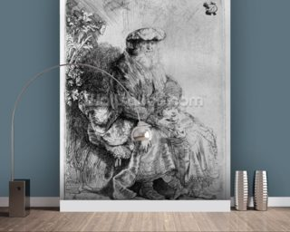 Abraham holding young Isaac, c.1637 (etching) mural wallpaper