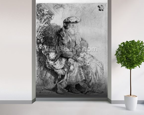 Abraham holding young Isaac, c.1637 (etching) mural wallpaper room setting