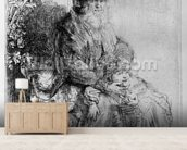 Abraham holding young Isaac, c.1637 (etching) mural wallpaper living room preview