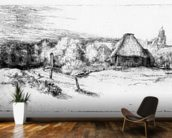 Landscape with a tower, c.1651 (etching) mural wallpaper kitchen preview