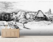 Landscape with a tower, c.1651 (etching) mural wallpaper living room preview