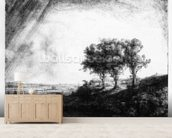 The Three Trees, engraved by James Bretherton (etching) wall mural living room preview