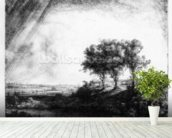 The Three Trees, engraved by James Bretherton (etching) wall mural in-room view