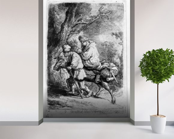 The Flight into Egypt, 1633 (etching) wallpaper mural room setting