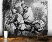 The Flight into Egypt, 1633 (etching) wallpaper mural kitchen preview
