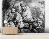 The Flight into Egypt, 1633 (etching) wallpaper mural living room preview