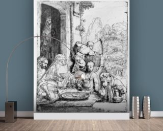 Abraham entertaining the angels, 1656 (etching) mural wallpaper