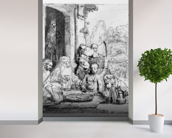 Abraham entertaining the angels, 1656 (etching) mural wallpaper room setting