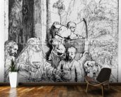 Abraham entertaining the angels, 1656 (etching) mural wallpaper kitchen preview