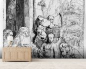 Abraham entertaining the angels, 1656 (etching) mural wallpaper living room preview
