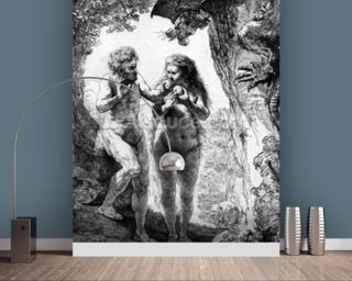 Adam and Eve, 1638 (etching) wallpaper mural