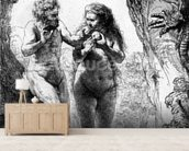 Adam and Eve, 1638 (etching) wallpaper mural living room preview