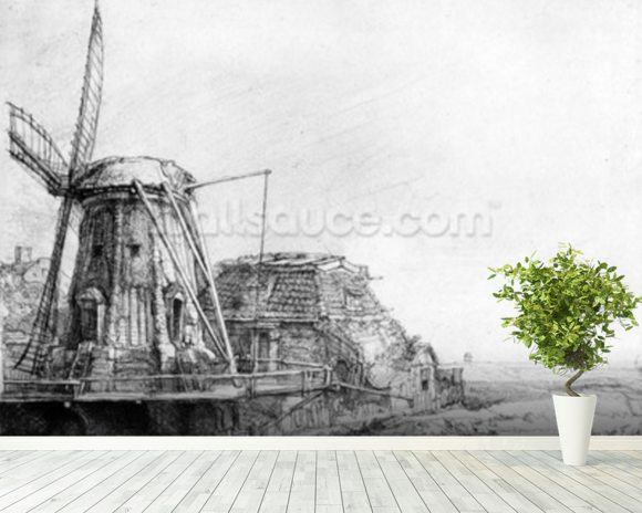 The Windmill, 1641 (etching) mural wallpaper room setting