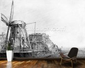 The Windmill, 1641 (etching) mural wallpaper kitchen preview